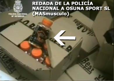 Productos Bull Sport Nutrition Incautados en la redada policía a Masmusculo