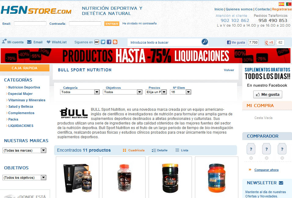 Estafa de HSN Store con Bull Sport Nutrition