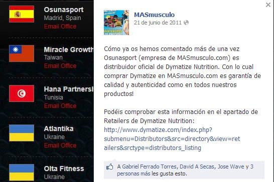 Fraude Dymatize por Osuna Sport SL (Masmusculo)