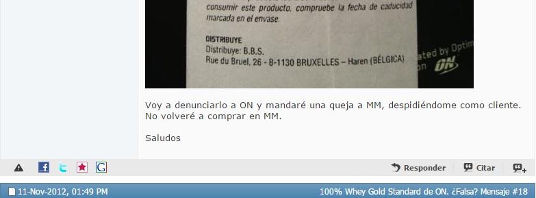 Otro comentario denunciando falsificación de Optimum Nutrition por Masmusculo (MM)