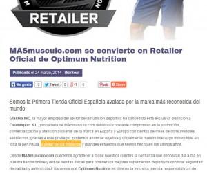 Masmusculo anunciando distribuidor Optimum Nutrition
